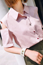 Off Sleeves solid Color Shirt