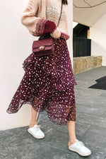 Floral Print A-line Red Wine Skirt - 7GEGE