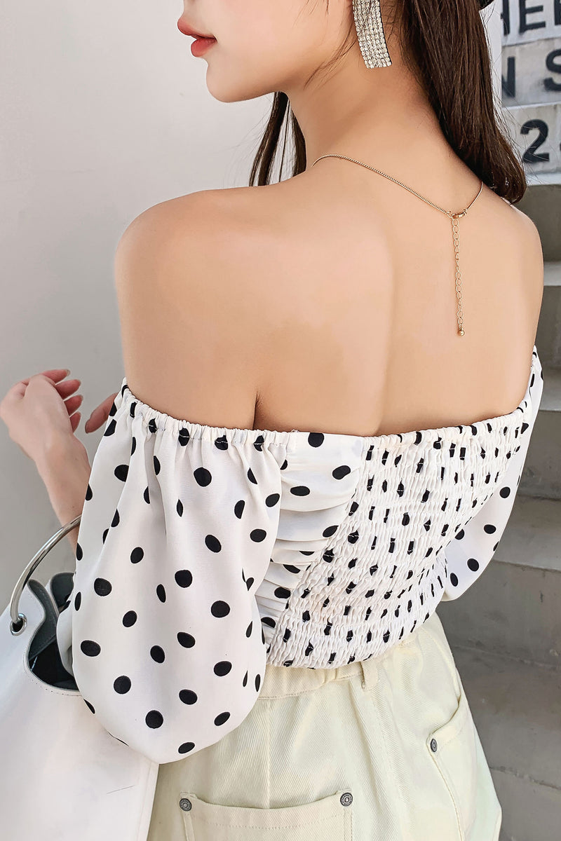 Polka Dot Chiffon Lace Shirt