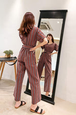 Striped Jumpsuit Casual Wide-leg Pant