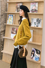 Crew Neckline Loose Binding Back Knit Sweater - 7GEGE