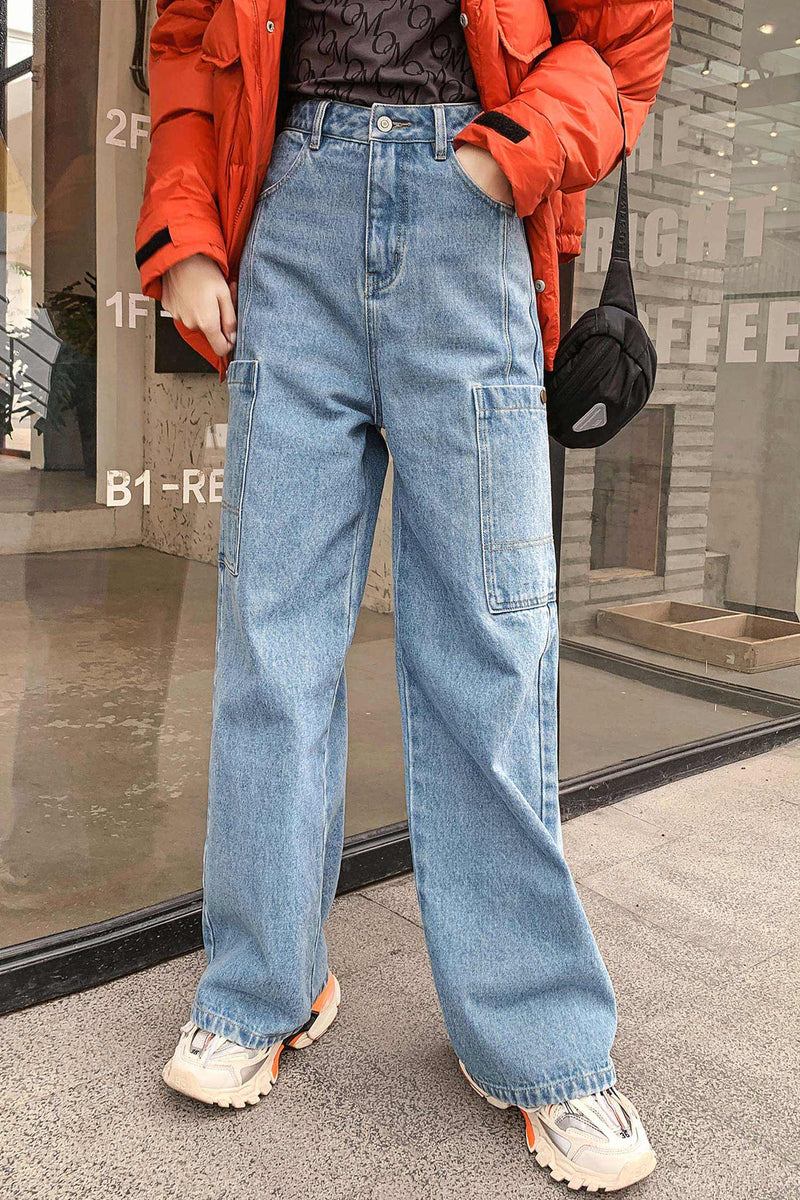 Straight Loose High Waistline Jeans Pant - 7GEGE