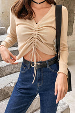 7 Colors Elastic Line Style Knit Sweater - 7GEGE