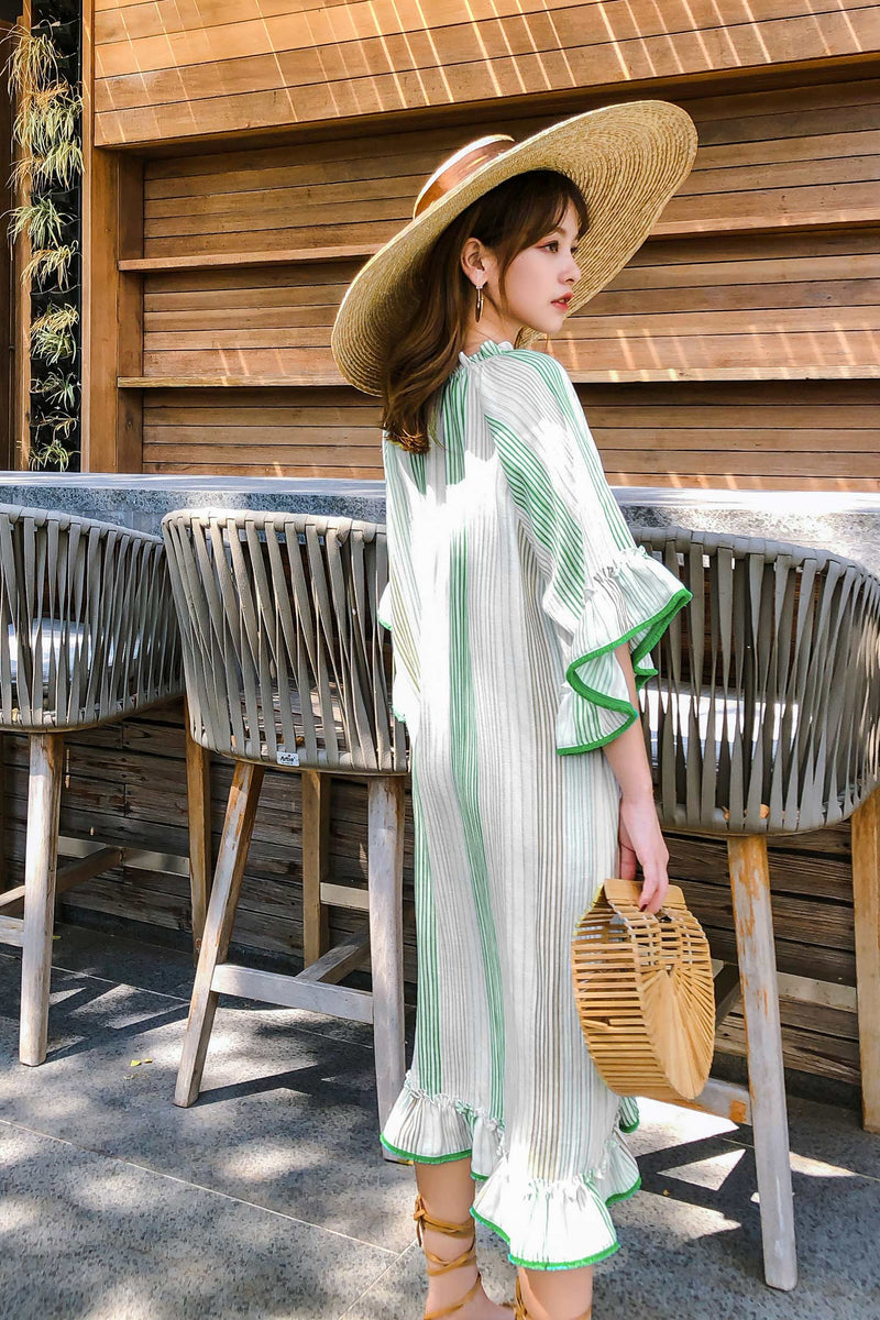 Vacation Relaxed Striped Green Dress - 7GEGE