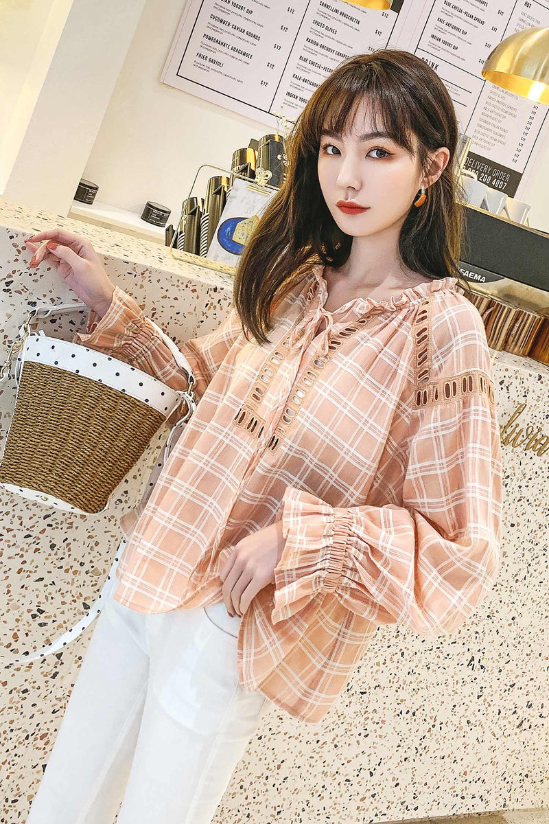 Plaid  Flounce Sleeve Blouses Top - 7GEGE