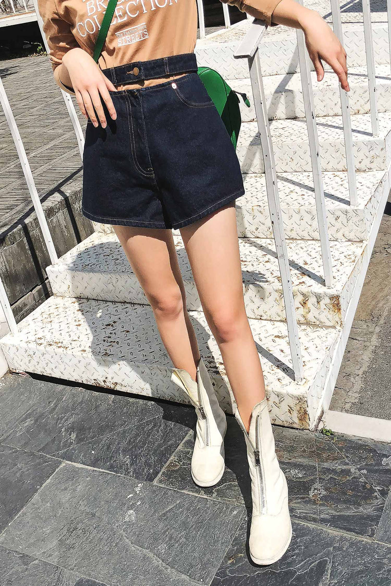 High waist shorts loose summer thin wide leg jeans pant