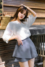 Lantern Sleeve White Lace Shirt Top - 7GEGE