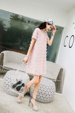 Pink Relaxed Fit Pencil Lace Dress - 7GEGE