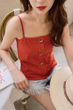 Orange and White Buttons Camisole - 7GEGE