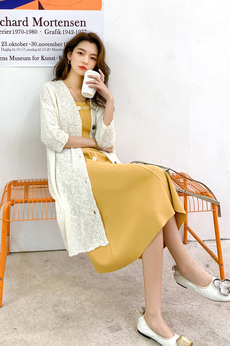 Spring Non-Sleeve Buttoned Strap Dress - 7GEGE