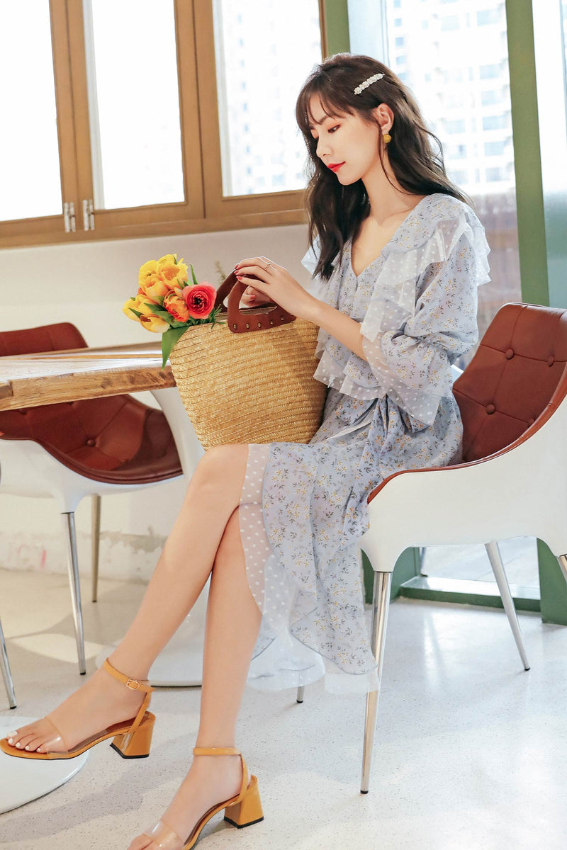 Summer Sweet Chiffon High Waist V-Neck Dress