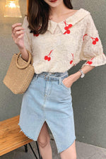 Split Side Asymmetrical Hem Jean Skirt - 7GEGE