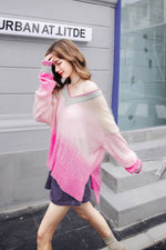 Loose Gradient Color Knit V-Neck Sweater - 7GEGE
