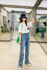 Straight Loose Wide Leg Jean Pant Blue - 7GEGE