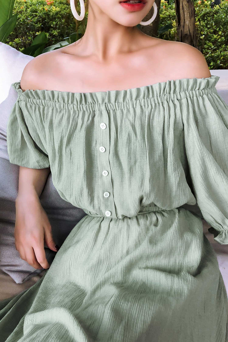 Off Shoulder Chiffon shirt Top(NO SKIRT)