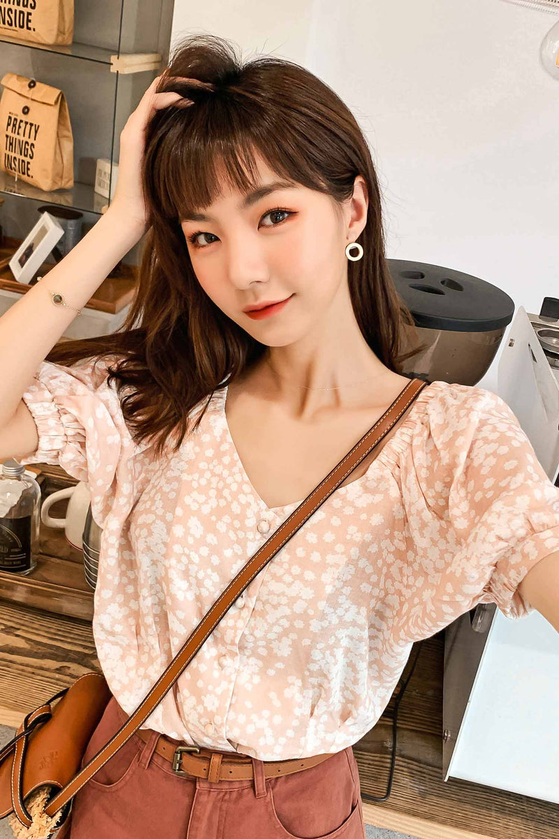 V-neck Open The back Floral Print short-sleeved shirt - 7GEGE