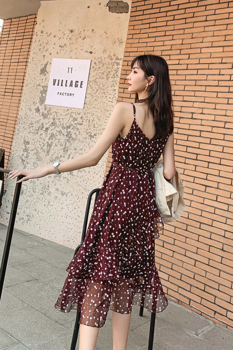 V-Neck Wine Red Dress - 7GEGE