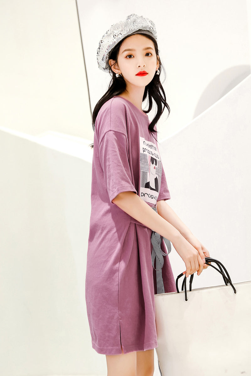 Purple Print Waist Belt Dress - 7GEGE
