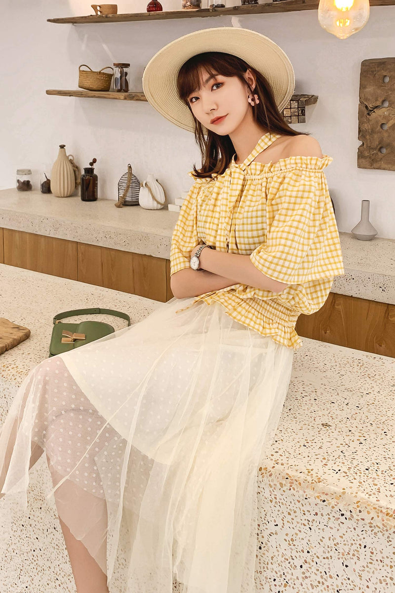 7gg Open Shoulder Lace Chiffon Shirt - 7GEGE