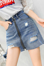 Denim High Waist A-line Skirt