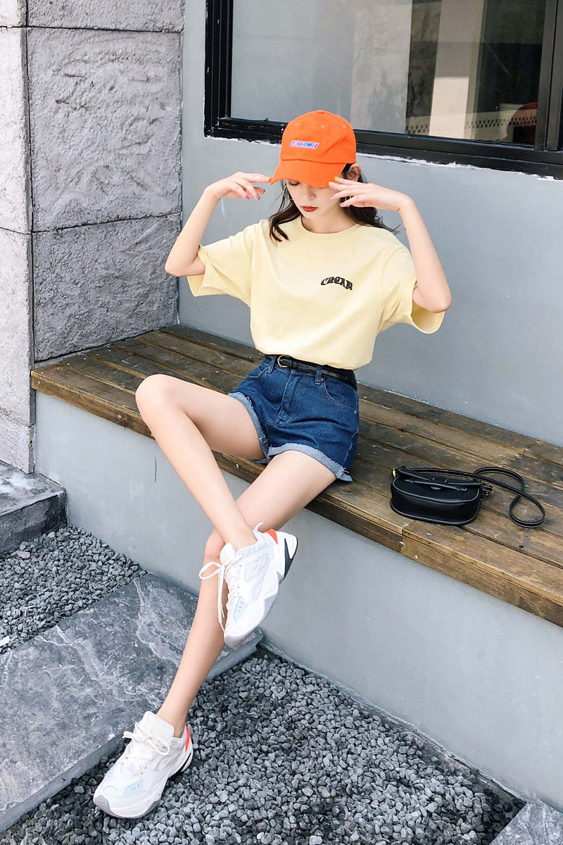 Short-sleeved New Tide Summer Girlfriends Lovers Loose Shirt Yellow Shirt - 7GEGE