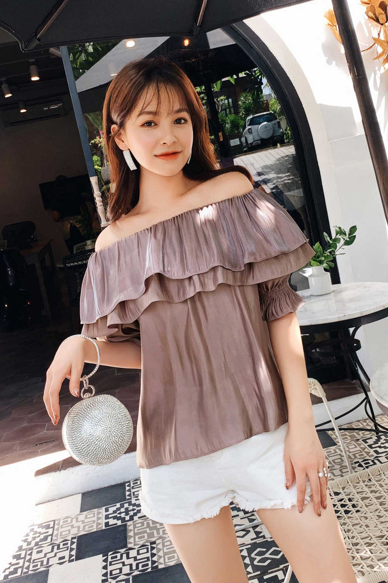 Open The Shoulder Lace Chiffon Shirt Green/Gray pink - 7GEGE