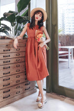 Crew-Neckline Orange Non Sleeves Dress - 7GEGE
