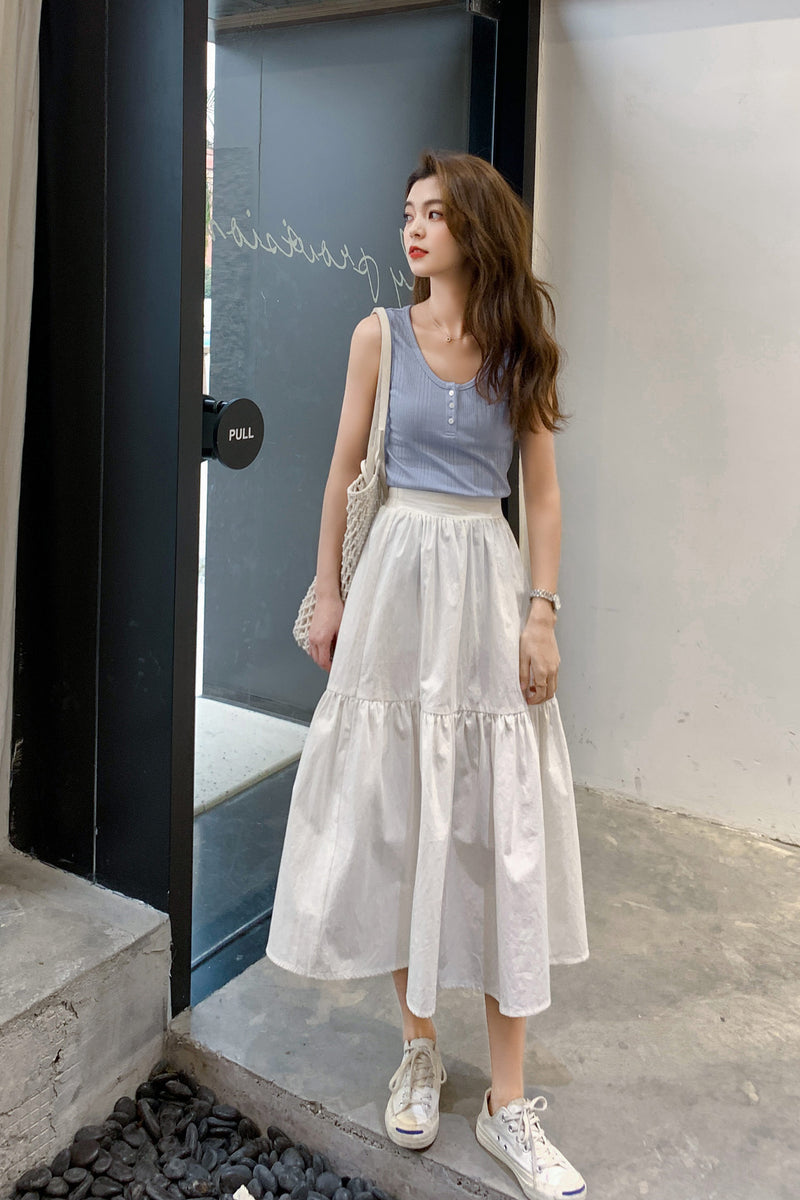 Hot Sale Pure White And Pure Black A-line Skirt - 7GEGE