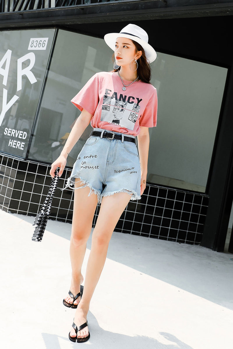 High waist wide leg Denim Shorts Pant