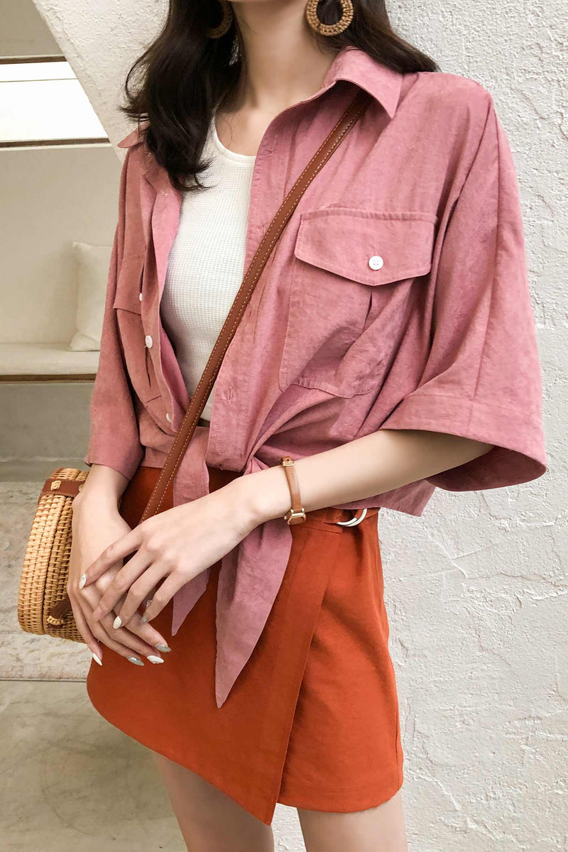 Blue/Pink Shirt With Front Breast pockets - 7GEGE
