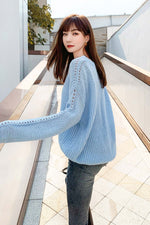 Long Sleeve Shoulder Hole Knit Sweater - 7GEGE