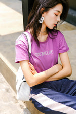 Black/White/Purple/Green Letter Tee Shirt - 7GEGE