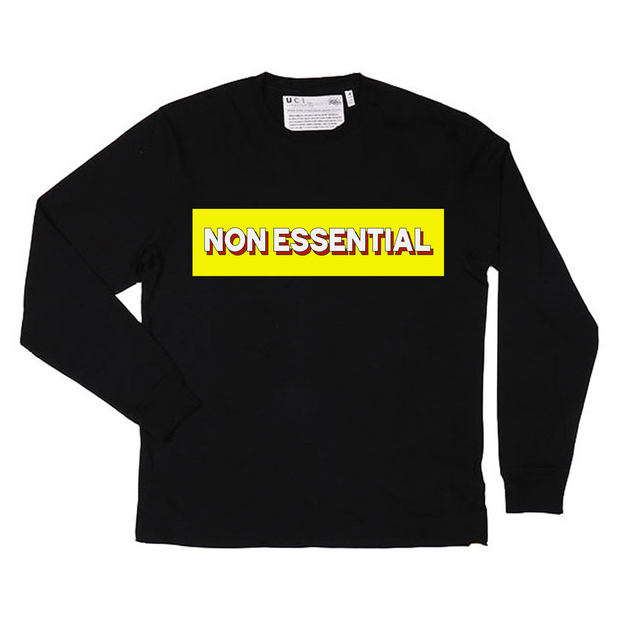 Non Essential Long Sleeve T-Shirt (Black)