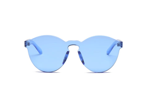 One Piece Mono Block Rimless PC Pantone Blue Lens