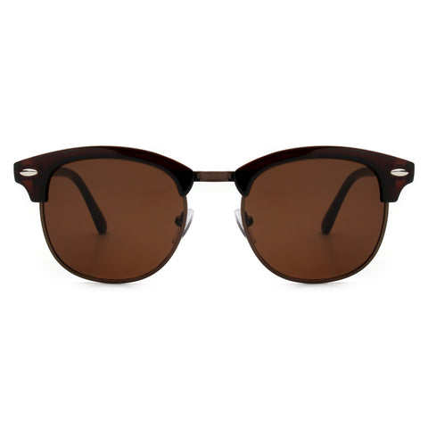 CLASSIC HALF FRAME CLUBMASTER FASHION BROWN LENS - Unum Sunglasses