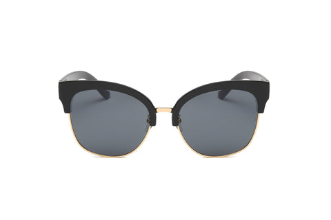 FLAT MIRRORED LENS CLUBMASTER BLACK - Unum Sunglasses