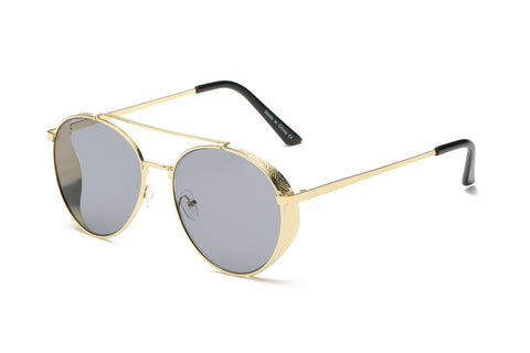 MODERN AVIATOR METAL FRAME BLACK LENS GOLD FRAME - Unum Sunglasses