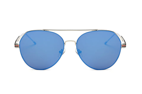 MODERN TEARDROP AVIATOR FLAT MIRRORED BLUE LENS - Unum Sunglasses