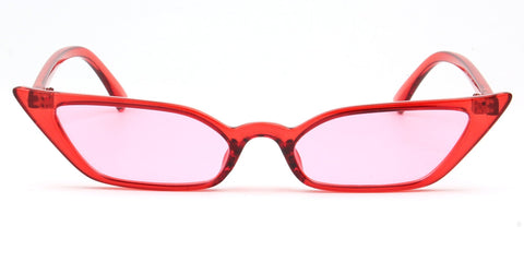 RETRO VINTAGE SLIM CAT EYE SUNGLASSES PINK LENS RED FRAME - Unum Sunglasses
