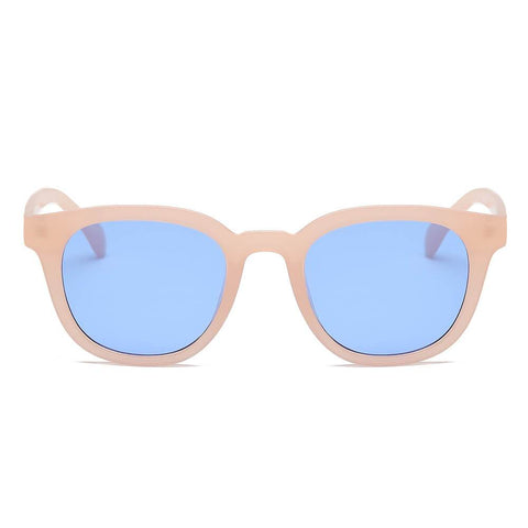 ROUND RETRO TAN FRAME W BLUE LENS - Unum Sunglasses