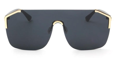 SQUARE SHIELD BLACK SUNGLASSES GOLD DETAIL - Unum Sunglasses