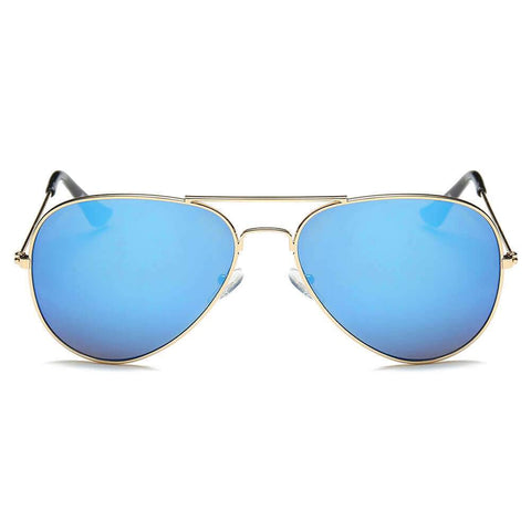 TEARDROP AVIATOR SUNGLASSES BLUE LENS GOLD FRAME - Unum Sunglasses