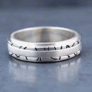 Triple Contrast Silver Ring
