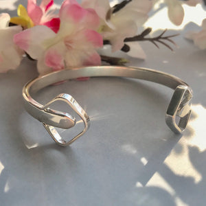 Sterling Silver Open Square Torque Bangle