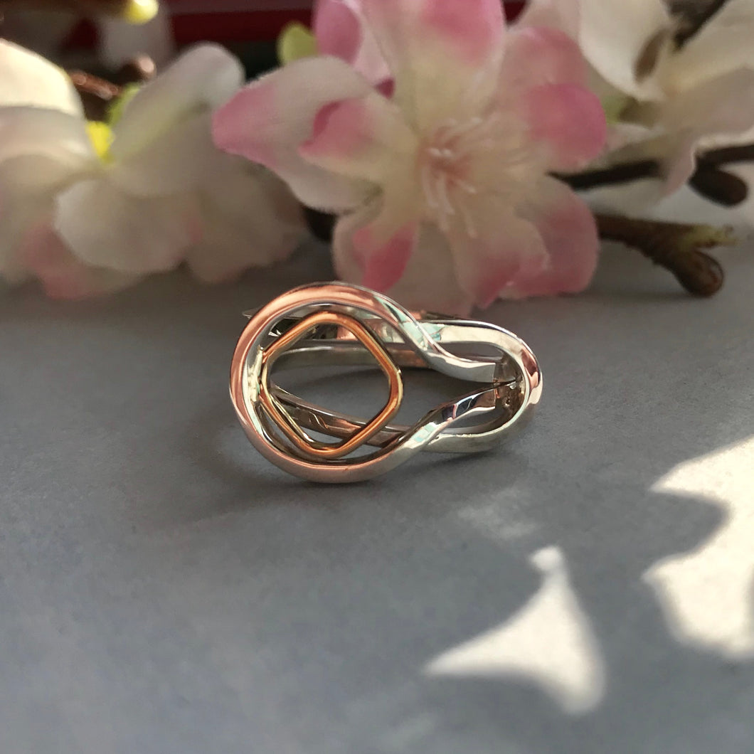 Sterling Silver and 9ct Gold Open Loop Ring