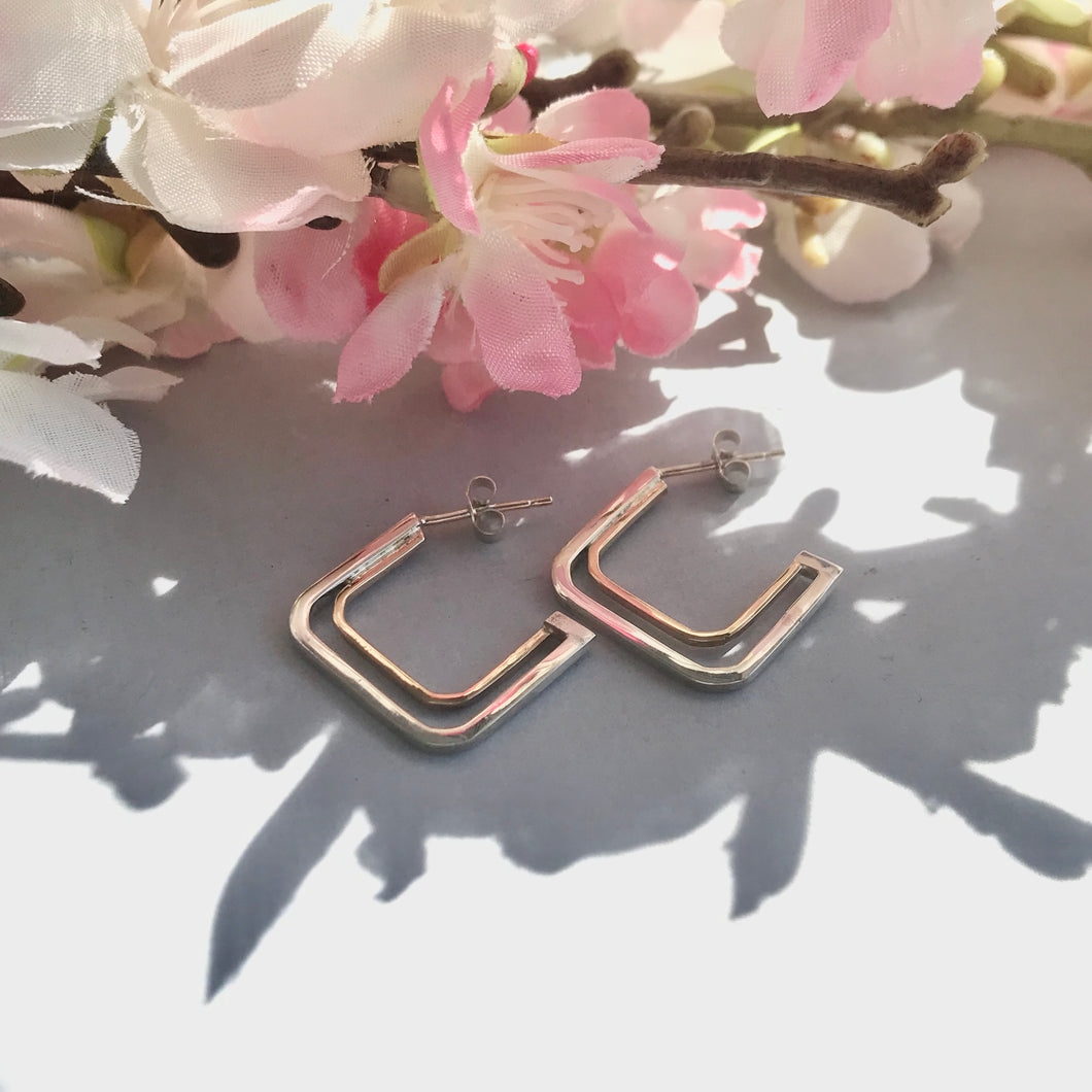 Sterling Silver and 9ct Yellow Gold Square Hoop Earrings