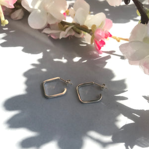 Small Sterling Silver Square Hoop Earrings