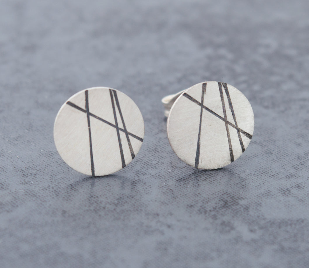 Large Round Stud Earrings