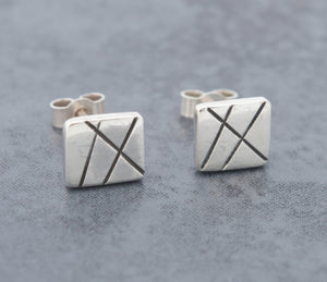 Oxidised Rectangular Stud Earrings