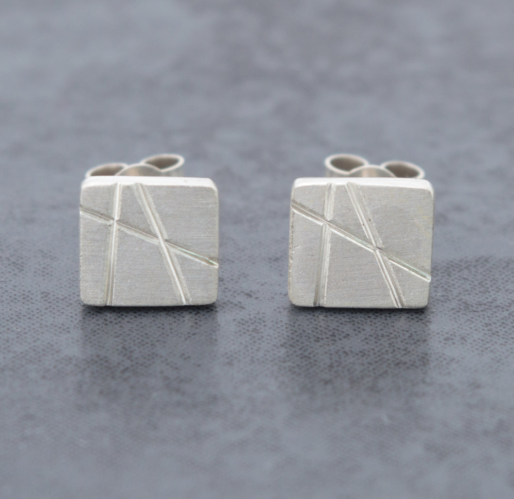 Matte Rectangular Stud Earrings
